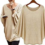 Suimiki Women's Batwing Sleeve Pullover Knitted Top Loose Sweater Blouse