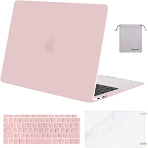 MOSISO MacBook Air 13 inch Case 2020 2019 2018 Release A2179 A1932 with Retina Display, Plastic Hard Shell&Keyboard Cover&Screen Protector&Storage Bag Compatible with MacBook Air 13, Rose Quartz