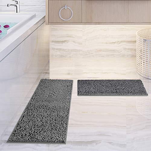Bath Mat Set 2 Piece Chenille Bath Rug, Non-Slip Bathroom & Kitchen Rugs and Mats Sets Shower Runner Rug for Tub Soft…