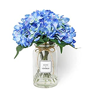 DuHouse 2 Bundles Artificial Hydrangea Fake Silk Flower Bouquet for Wedding Centerpieces Home Garden Decor (Blue,Pack of 2) 4