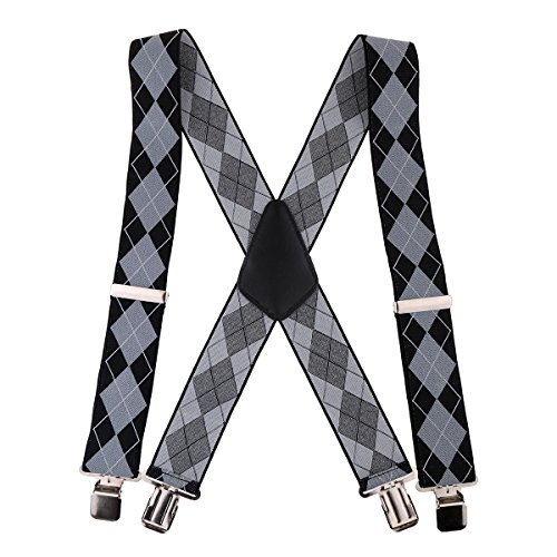 GoTEK Mens X Shape Braces Adjustable and Elastic Suspenders with A Very Strong Clips - Heavy Duty 2' Wide