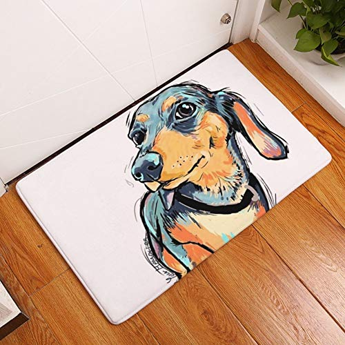 Pattern Door - YJBear Thin Long Ear Puppy Dog Pattern Floor Mat Coral Fleece Home Decor Carpet Indoor Rectangle Doormat Kitchen Floor Runner 16
