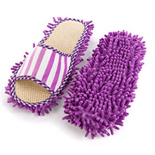 Mopping Can Chenille Linen Shippers Fleece Lazy Be Washed pink Slippers Coral Purple w5pIAYxq