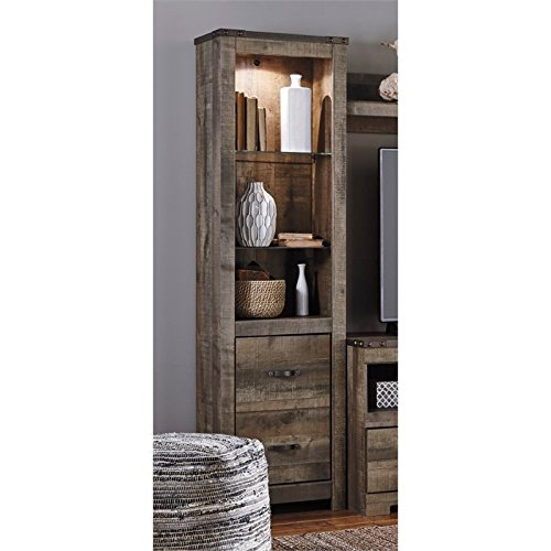 Ashley Furniture Signature Design - Trinell Tall Pier Shelf - 3 Shelves with Storage and Light - Rustic Style - Brown