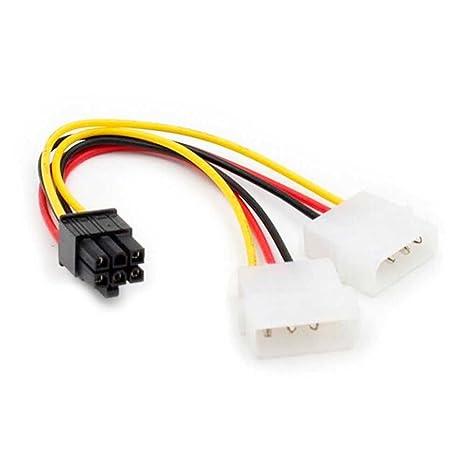Ociodual Cable de alimentación Tarjeta Grafica PCI Express 6 Pines Hembra a 2X Molex LP4
