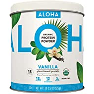 ALOHA Organic Vanilla Plant-Based Keto Friendly Protein Powder with MCT Oil, 18.5 oz, Makes 15 Shakes, Vegan, Gluten Free, Non-GMO, Stevia Free & Erythritol Free, Soy Free, Dairy Free & Only 3g Sugar