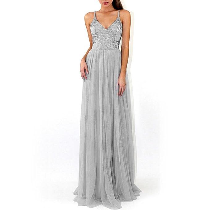 9d61932ef77e iBaste 2018 Sexy Donna Elegante V-Scollo Abito da Sera Senza Schienale  Spaghetti Strap Vestito Lungo  Amazon.it  Abbigliamento