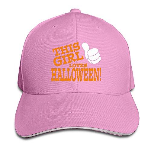 [Runy Custom This Girl Loves Halloween Adjustable Sanwich Hunting Peak Hat & Cap Pink] (Pepsi Costume Halloween)