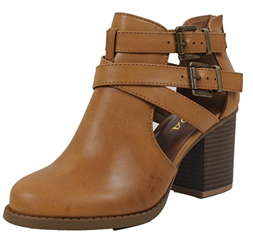 Soda Low Heel 10 Womens Design US M With Scribe Rub B Out And Ankle Tan Cut Pu Bootie Side xfr4xH1Wq