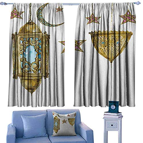 Lantern Breathable Curtain Traditional Hand Drawn Style Watercolor Crescent Moon and Stars Cultural Set of Two Panels 72
