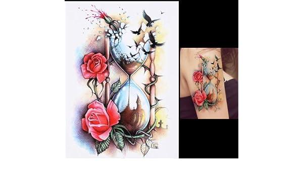 Reloj De Arena de rosas pájaro Tattoo Fake Tattoo una vez Tattoo hb509: Amazon.es: Belleza