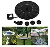 Solar Power Bird Bath Fountain, Fullkang Outdoor Water Fountain Pump For Pool, Garden, Aquarium (Black)