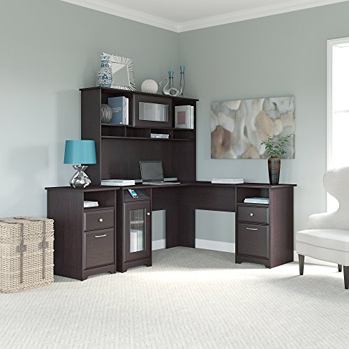 Cabot L Shaped Desk, Hutch, and 2 Drawer File Cabinet by Bush Furniture