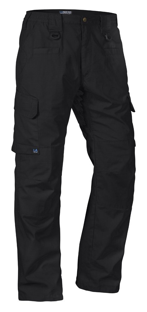 LA Police Gear Operator Tactical Pants with Elastic Waistband Black 38 x 34