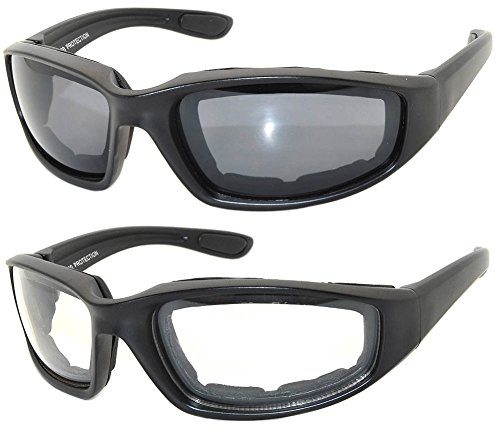 2 Pairs Black Motorcycle Padded Foam Glasses Smoke Lens & Clear Lens (Padded Glasses)