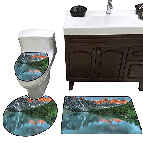 U-Shaped Toilet Floor Rug Set Cottage Decor Collection Sunrise at Moraine Lake in Banff National Park with Snowy Peaks and Fresh Forest View 3D Digital Printing Rug Set Dark Orange