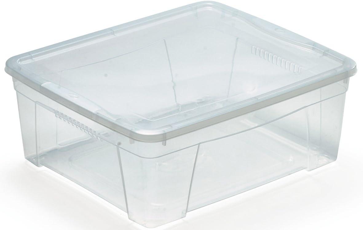 Mondex Pls 614-00 42 x 35 x 17 cm-Scatola in plastica Trasparente con Coperchio per Abiti e Scarpe da 16,9 l