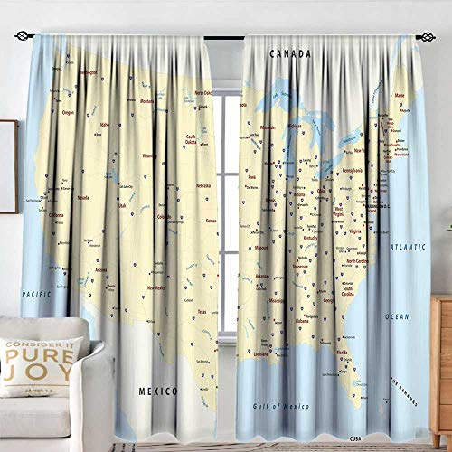 (NUOMANAN Curtains for Living Room Map,United States Interstate Map America Cities Travel Destinations Road Route,Yellow Red Light Blue,Darkening and Thermal Insulating Draperies 120