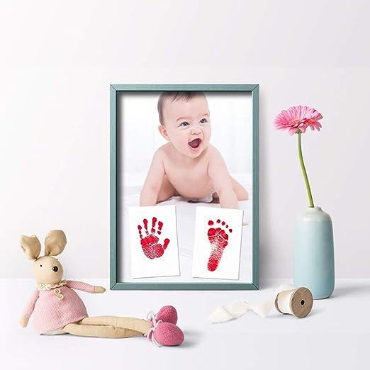 Schwarz + Pink + Blau Impressum Karten,Holzklammern und Seil,sicherer und ungiftiger Tinte Meetory 3 Pack Baby Handabdruck Fu/ßabdruck Set mit Stempelkissen und Fotorahmen