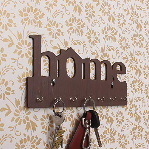 eCraftIndia Home Theme Wooden Key Holder with 7 Hooks
