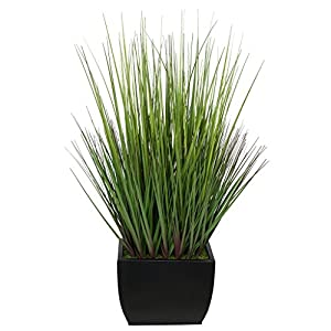 House of Silk Flowers Artificial 28-inch Grass in Medium Rectangle Zinc 60