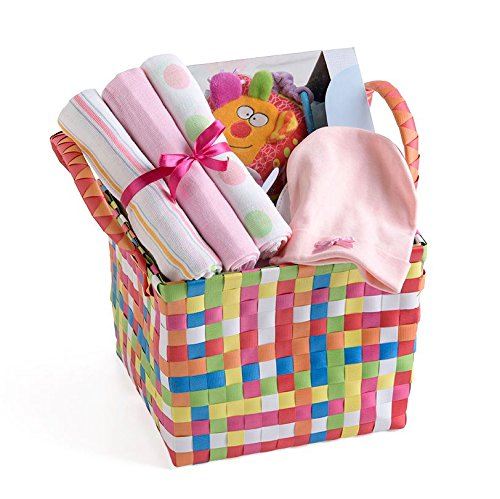 Baby Shower Girl Present Basket Cotton Muslin Cap Curiosity Cube Gift