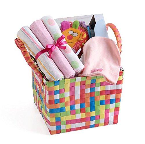 Baby Shower Girl Present Basket Cotton Muslin Cap Curiosity Cube Gift