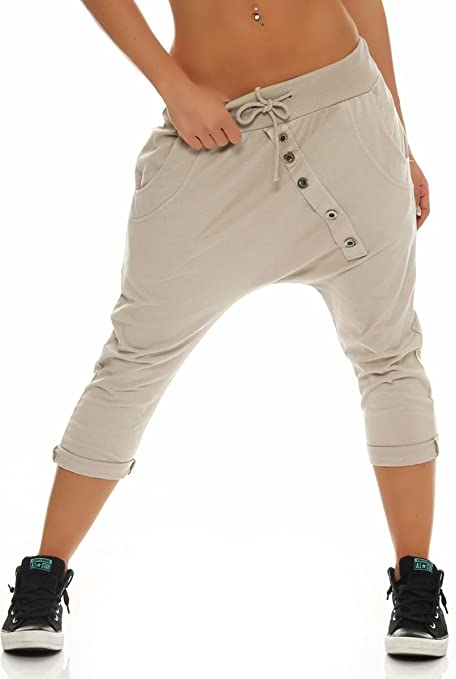 Malito Damen Kurze Hose mit Knopfleiste | Chino Hose in Unifarben | Baggy zum Tanzen | Sweatpants - Trainingshose 8015