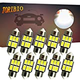 #9: TORIBIO 31mm LED Bulbs 6000K Pure White Bright Interior Car Lights Error Free CANBUS 6-SMD 5730 Chipsets 3175 Festoon Dome Lights, De3021 De3175 LED Bulbs