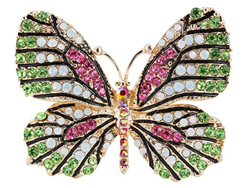 (Gyn&Joy Multi-Color Crystal Rhinestone Winged Butterfly Pin Brooch BZ030 (Green))