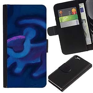 Planetar® Modelo colorido cuero carpeta tirón caso cubierta piel Holster Funda protección Apple (4.7 inches!!!) iPhone 6 / 6S ( Lion Art Cave Painting Blue Purple )
