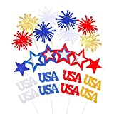 Fourth/4th of July USA Cupcake Toppers,Coxeer Cocktail Sticks Food Picks, Firework Star Glitter Cupcake Toppers for American Independence Day Patriotic Memorial Day Veterans Day Decoration Set of 22