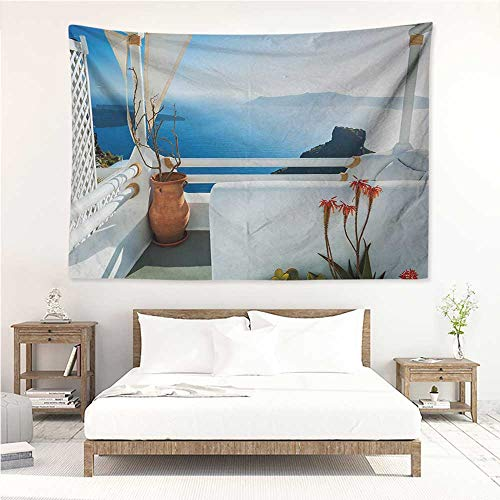 (European,Tapestries for Sale Holiday Terrace with Sea at Sunset Architecture on Santorini Island Greece 84W x 70L Inch Mattress, Tablecloth Turquoise and Blue )