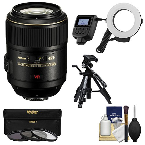 Nikon 105mm f/2.8 G VR AF-S Micro-Nikkor Lens with Ringlight + Tripod + 3 Filters Kit for D3300, D3400, D5500, D5600, D7100, D7200, D610, D750, D810, D5 Camera