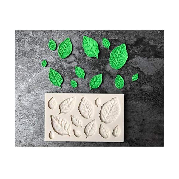 Hosaire - Stampo da pasticceria, pratico, in silicone, per gelato fondente 3D, a forma di foglie, bricolage, decorazione, mini stampi per sapone 2 spesavip