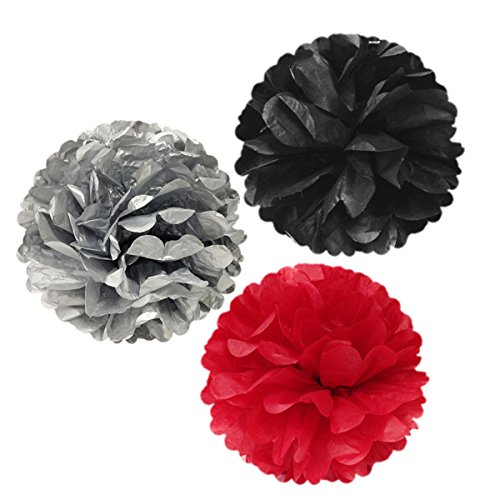 Wrapables Set of 3 Tissue Pom Poms Party Decorations for Weddings, Birthday Parties and Baby Showers, 12-Inch, - Black Red Silver