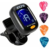 Clip On Guitar Tuner For All Instruments, Ukulele, Guitar, Bass, Mandolin, Violin, Banjo, Large Clear LCD Display For Guitar Tuner, Chromatic Tuner, 4 PCS Guitar Picks Included