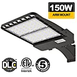 150W LED Parking Lot Shoebox Light BBOUNDER Outdoor Commercial Pole Lights 19500lm 5700K Weatherpoof Security Area Lighting Fixture Arm-Mounted DLC&ETL Listed for Driveways Park Street Court.