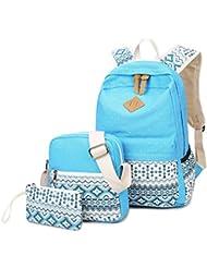 HeyYoo Fashion Canvas School Bag Cute Bookbag School Backpack Sets for Teen Girls