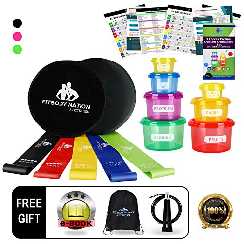 Core Sliders Fitness Discs(2)Set- Free Weights 80 Day Obsession Equipment, Booty Bands Workout, With 21 Day Fix 7pc Portion Control Container(Free Jump Rope &Weight Loss E-Book) ()