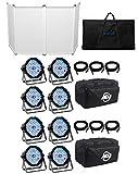 American DJ MEGA FLAT PAK 8x Mega Par Profile +6x 6' Foot DMX Cables+Bag+Facade