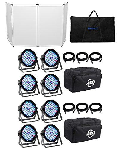 American DJ MEGA FLAT PAK 8x Mega Par Profile +6x 6' Foot DMX Cables+Bag+Facade by American DJ