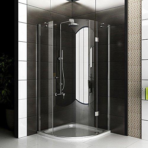Duschabtrennung / rahmenlose Duschkabine / Duschkabine ca. 90 x 90 x 200 cm / Echtglas Viertelkreis Dusche / Alpenberger / Modell Rotondo Clear / Duschabtrennung aus Glas