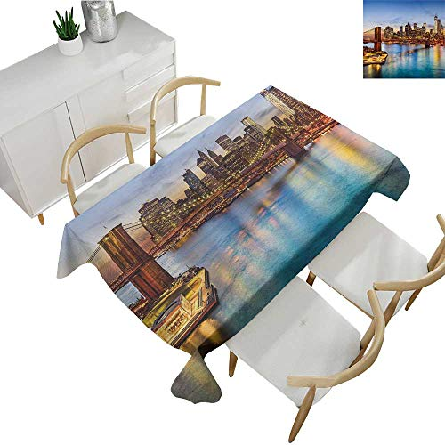 United States,Rectangular Table Cloth New York City Skyline Over East River Brooklyn Bridge Twilight Party Tablecloth Covers Blue Dark Orange Yellow 60