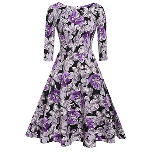 Pinkyee - Vestido - trapecio - para mujer Purple Floral