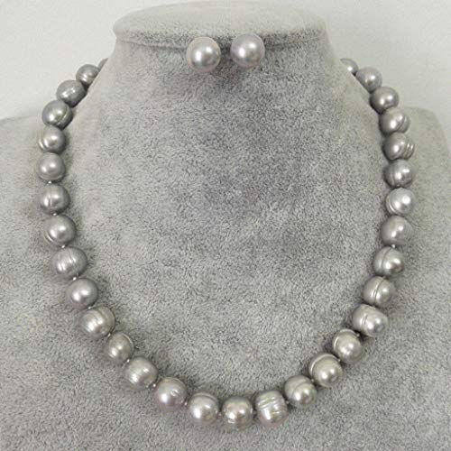 FidgetFidget 9-10mm Genuine Natural Gray Freshwater Cultured Pearl Necklace Earring PN1650
