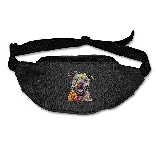 Adult Bull Running (Janeither Unisex Pockets Colored Pitbull Fanny Pack Waist/Bum Bag Adjustable Belt Bags Running Cycling Fishing Sport Waist Bags Black)