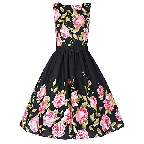 Babyonline-Women-Floral-Spring-Garden-Vintage-1950s-Picnic-Party-Cocktail-Dress