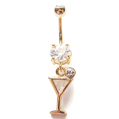 Amazon Com 14g 3 8 Martini Glass Belly Button Ring Navel Rings Ear