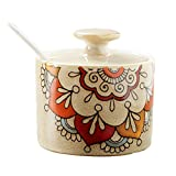 #6: Retro Ceramic Abstract Flower Sugar Bowl Set Sugar Dispenser with Lid and Serving Spoon Salt Seasoning Pot Pepper Storage Jar Container Sugar Box Condiment Spice Racks Holder,
